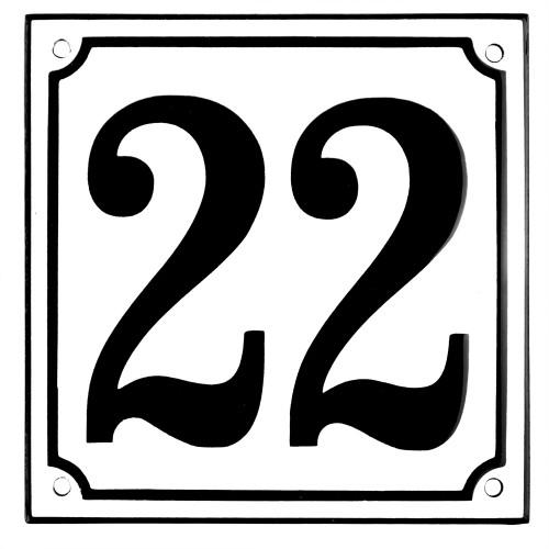 Emaljskylt 22 vit - svart 15 x 15 cm modell 10