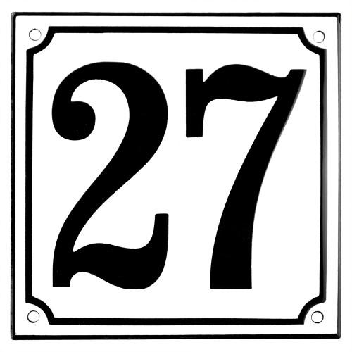 Emaljskylt 27 vit - svart 15 x 15 cm modell 10