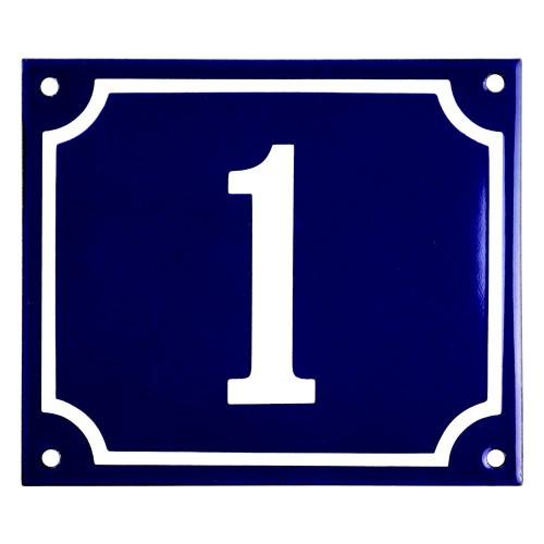Emaljskylt 1 blå - vit 14 x 12 cm modell 11