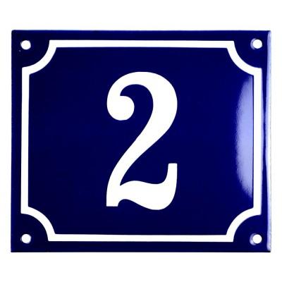 Emaljskylt 2 blå - vit 14 x 12 cm modell 11