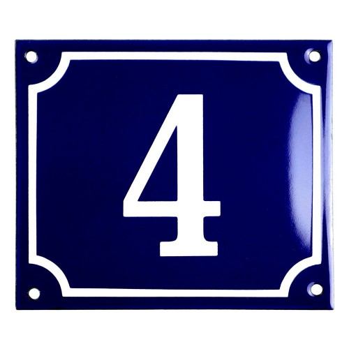 Emaljskylt 4 blå - vit 14 x 12 cm modell 11