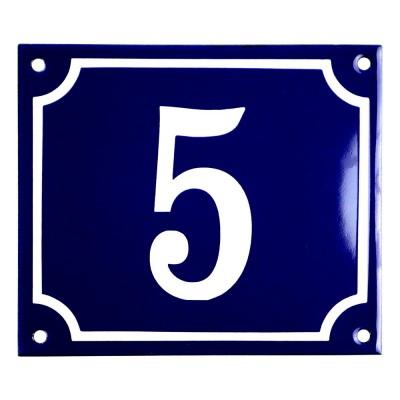 Emaljskylt 5 blå - vit 14 x 12 cm modell 11