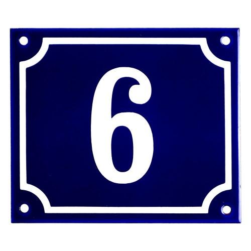Emaljskylt 6 blå - vit 14 x 12 cm modell 11