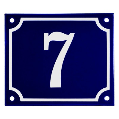 Emaljskylt 7 blå - vit 14 x 12 cm modell 11