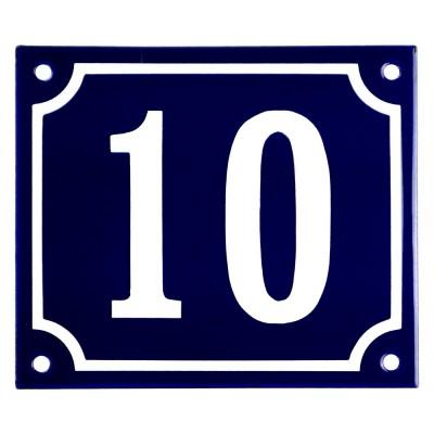Emaljskylt 10 blå - vit 14 x 12 cm modell 11