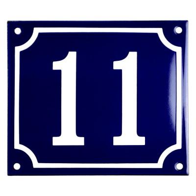 Emaljskylt 11 blå - vit 14 x 12 cm modell 11