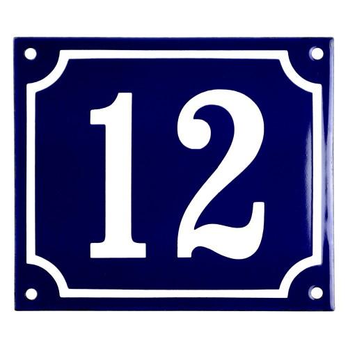 Emaljskylt 12 blå - vit 14 x 12 cm modell 11