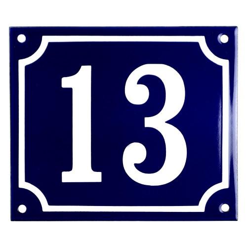 Emaljskylt 13 blå - vit 14 x 12 cm modell 11