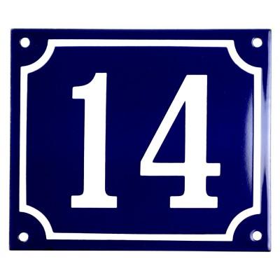 Emaljskylt 14 blå - vit 14 x 12 cm modell 11