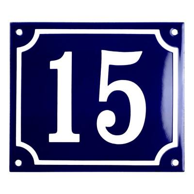 Emaljskylt 15 blå - vit 14 x 12 cm modell 11