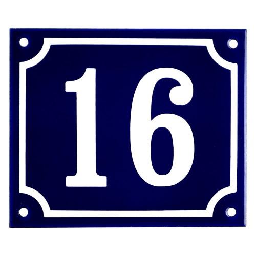 Emaljskylt 16 blå - vit 14 x 12 cm modell 11