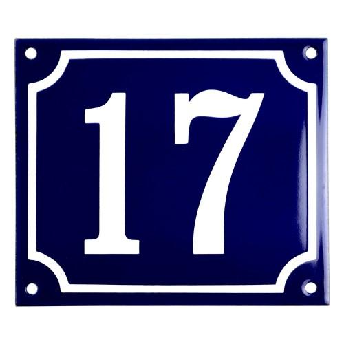 Emaljskylt 17 blå - vit 14 x 12 cm modell 11