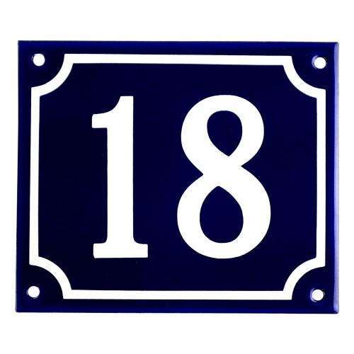 Emaljskylt 18 blå - vit 14 x 12 cm modell 11