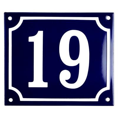 Emaljskylt 19 blå - vit 14 x 12 cm modell 11