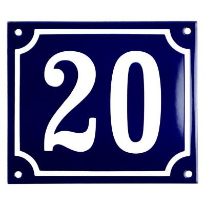 Emaljskylt 20 blå - vit 14 x 12 cm modell 11