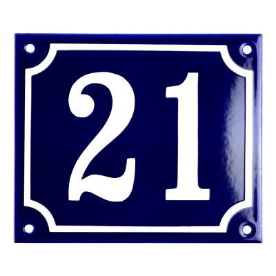 Emaljskylt 21 blå - vit 14 x 12 cm modell 11