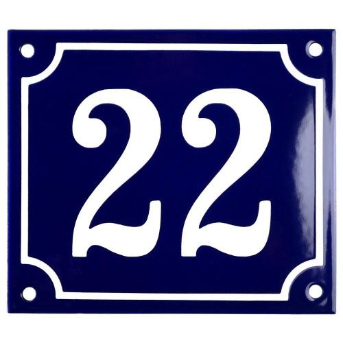 Emaljskylt 22 blå - vit 14 x 12 cm modell 11