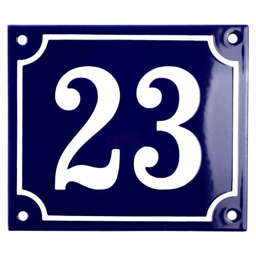 Emaljskylt 23 blå - vit 14 x 12 cm modell 11