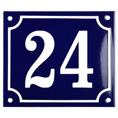Emaljskylt 24 blå - vit 14 x 12 cm modell 11
