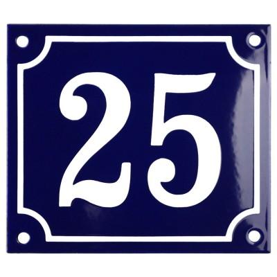 Emaljskylt 25 blå - vit 14 x 12 cm modell 11