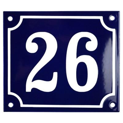 Emaljskylt 26 blå - vit 14 x 12 cm modell 11