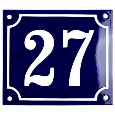 Emaljskylt 27 blå - vit 14 x 12 cm modell 11