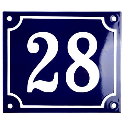 Emaljskylt 28 blå - vit 14 x 12 cm modell 11