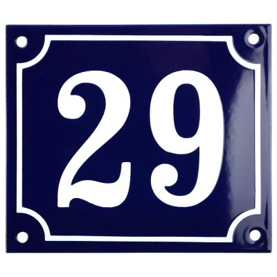 Emaljskylt 29 blå - vit 14 x 12 cm modell 11