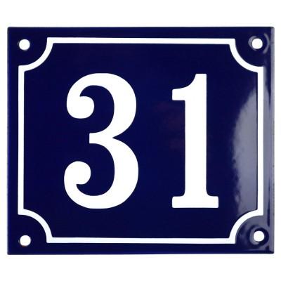 Emaljskylt 31 blå - vit 14 x 12 cm modell 11