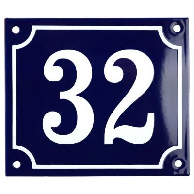 Emaljskylt 32 blå - vit 14 x 12 cm modell 11