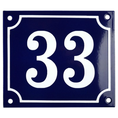 Emaljskylt 33 blå - vit 14 x 12 cm modell 11