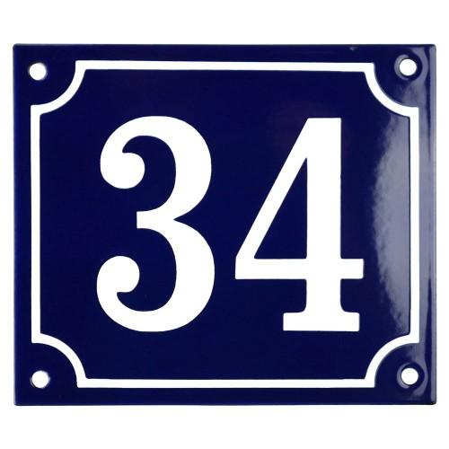 Emaljskylt 34 blå - vit 14 x 12 cm modell 11