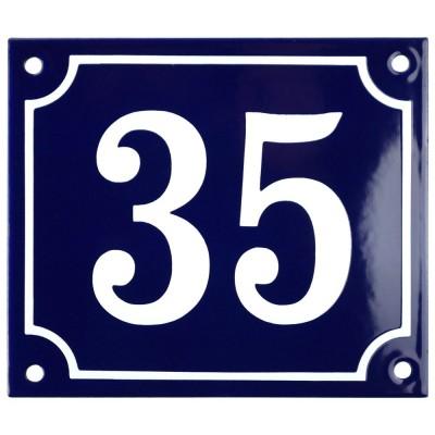 Emaljskylt 35 blå - vit 14 x 12 cm modell 11