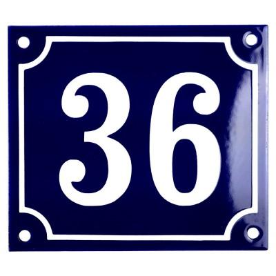 Emaljskylt 36 blå - vit 14 x 12 cm modell 11
