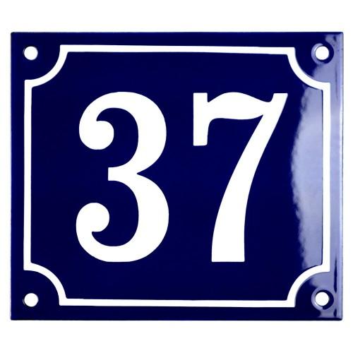 Emaljskylt 37 blå - vit 14 x 12 cm modell 11