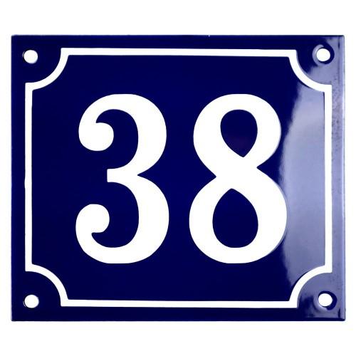 Emaljskylt 38 blå - vit 14 x 12 cm modell 11