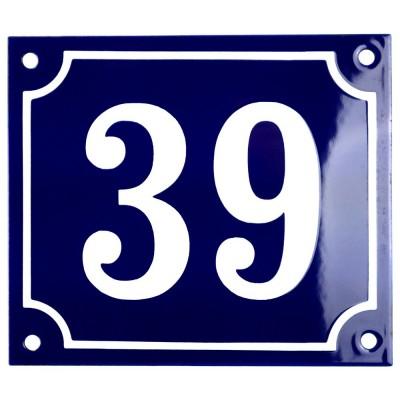 Emaljskylt 39 blå - vit 14 x 12 cm modell 11