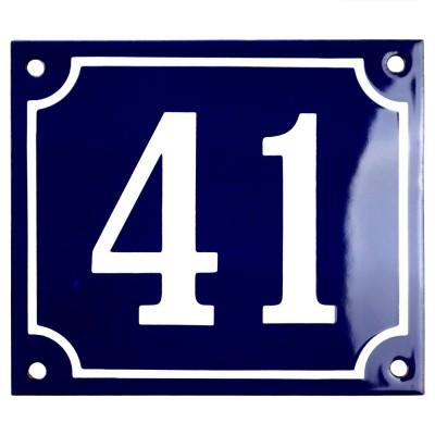 Emaljskylt 41 blå - vit 14 x 12 cm modell 11