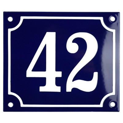 Emaljskylt 42 blå - vit 14 x 12 cm modell 11