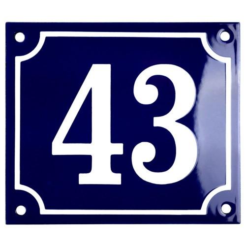 Emaljskylt 43 blå - vit 14 x 12 cm modell 11