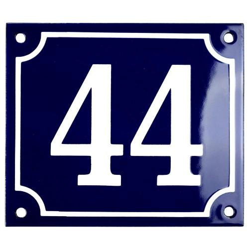 Emaljskylt 44 blå - vit 14 x 12 cm modell 11