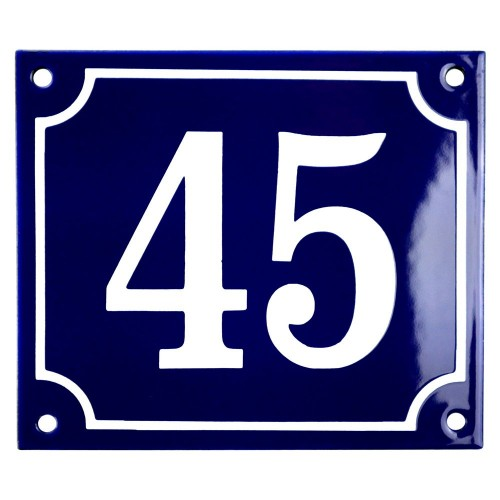 Emaljskylt 45 blå - vit 14 x 12 cm modell 11