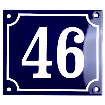 Emaljskylt 46 blå - vit 14 x 12 cm modell 11