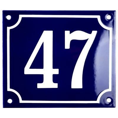 Emaljskylt 47 blå - vit 14 x 12 cm modell 11