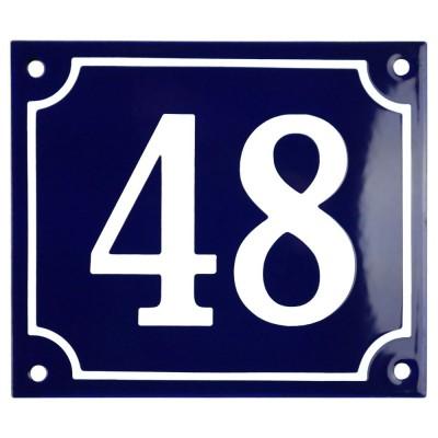 Emaljskylt 48 blå - vit 14 x 12 cm modell 11