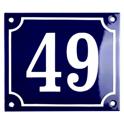 Emaljskylt 49 blå - vit 14 x 12 cm modell 11