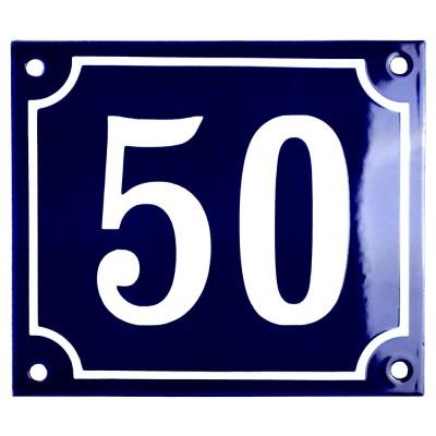 Emaljskylt 50 blå - vit 14 x 12 cm modell 11