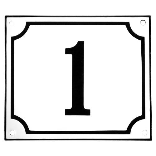 Emaljskylt 1 vit - svart 14 x 12 cm modell 10