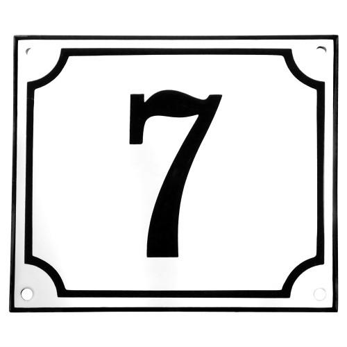 Emaljskylt 7 vit - svart 14 x 12 cm modell 10