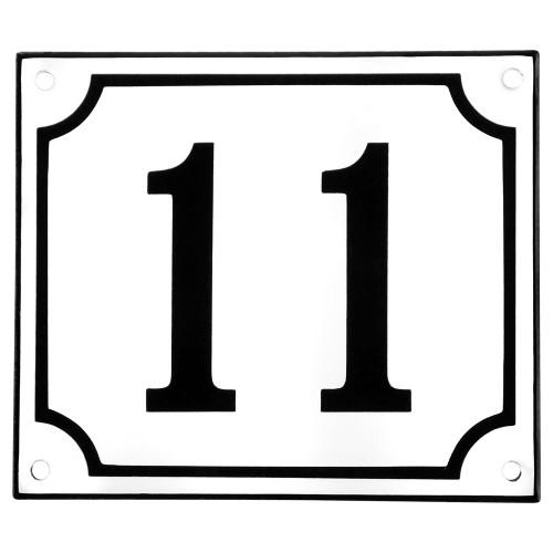 Emaljskylt 11 vit - svart 14 x 12 cm modell 10